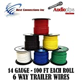 Trailer Light Cable Wiring For Harness 100ft spools 14 Gauge 6 Wire 6 colors