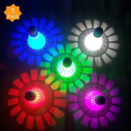 (ZHENAN LED Badminton Shuttlecocks Dark Night Glow Birdies Lighting For Outdoor & Indoor Sports Activities (Nylon_5pcs))