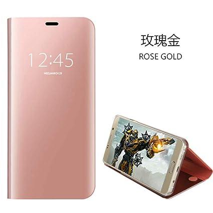 Funda XiaoMi Mi 8 lite,Carcase XiaoMi Mi 8 lite+Protector de Pantalla Clear Standing Flip Case Caso Skin espejo estilo libro carcasa con óptica de ...