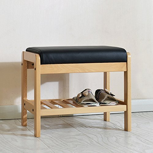 ZHEN GUO SHELF Natural Beech Wood Shoe Bench Entryway With Storage Shelf and Black Cushion, Heavy Duty Solid Wooden Shoe Organizer Rack Over The Door (Size : Small)