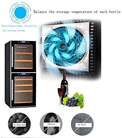 hanzeni Bodega para Vino - Compresor Enfriador De Botellas De Vino - Zonas De Temperatura Dual - Almacena hasta 40 Botellas