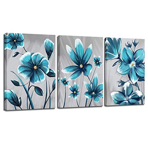 LevvArts - 3 Piece Canvas Wall Art Elegant Blue Flower Painting Wall Decor Gray Blue Floral Blossom Picture Giclee Print Artwork Modern Living Room Bedroom Home Office Decoration Framed Ready to Hang (Framed Flower Pictures)