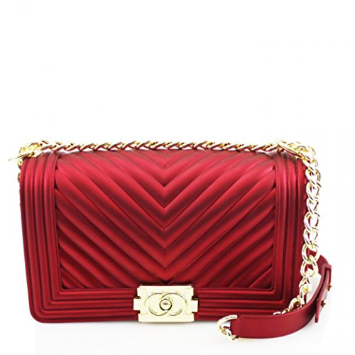 Body LeahWard Cross SHOULDER Handbags RED BAG Women's Faux Leather Chain Bag Strap grrESqBw
