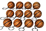 Novel Merk 12 Pack Brown Basketball Keychains for Kids Party Favors & School Carnival Prizes