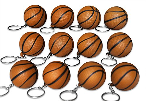 Price comparison product image Novel Merk 12 Pack Brown Basketball Keychains for Kids Party Favors & School Carnival Prizes