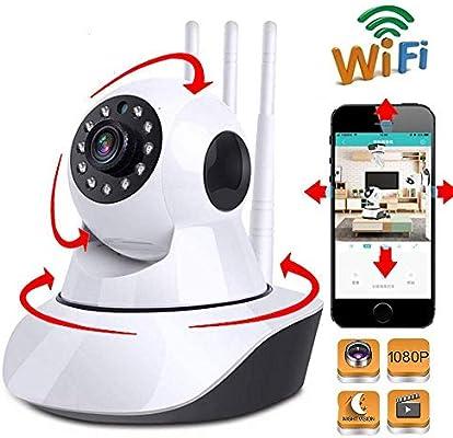 vigilabebe Cámara IP monitor inalámbrico para bebés WiFi domo visión nocturna seguimiento automático monitoreo de seguridad en el hogar 1080PWith32GCard: Amazon.es: Bebé