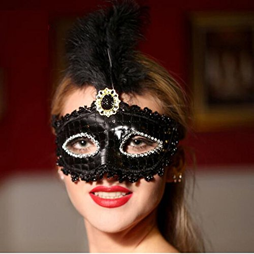 Dongcrystal Women's Venetian Sequin Masquerade Mask With Feather For Costumes Halloween Party - (Sequin Jester Mask)