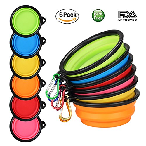 Price comparison product image BPA Free Collapsible Pet Bowl - Set of 6 with Matching Carabiner Clips Silicone Pop-up Bowl for Dog Cat