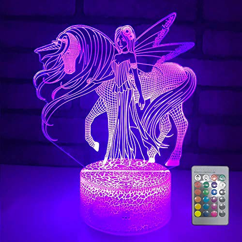Night Light 16 Colors Changing 3D Optical Illusion Bedside Lamps with Remote Best Gift Idea for Kids Room Décor or Birthday Gifts for Girls Women (Unicorn New)