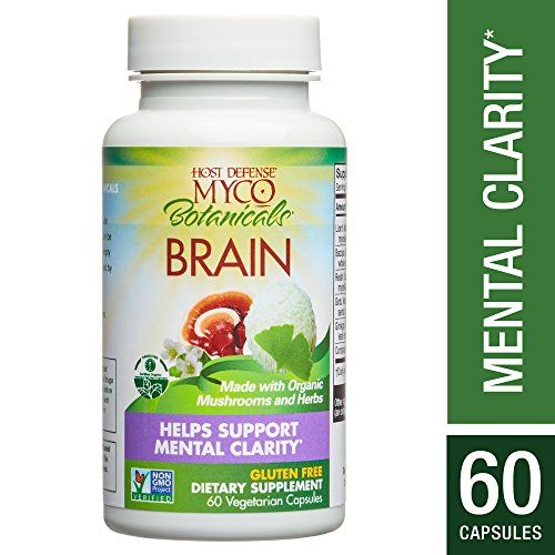 Host Defense - MycoBotanicals Brain Mushrooms and Herb Capsules, Helps Clarity, Concentration, Memory, and Adrenal Health with Lion's Mane, Ginkgo, and Bacopa, Non-GMO, Vegan, Organic, 60 Count