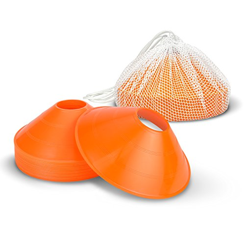 GoSports Agility Training Sport Cone 20 Pack with Tote Bag - Low Profile Field Markers for Kids and Adults ()
