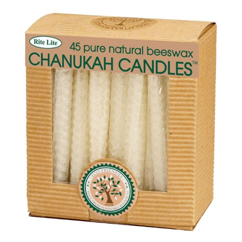 Honeycomb Beeswax Natural Hanukkah Candles / 45 Pack