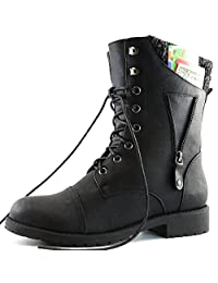 DailyShoes Womens Military Up Buckle Combat Boots Zipper Sweater Ankle High Exclusive Credit Card Pocket