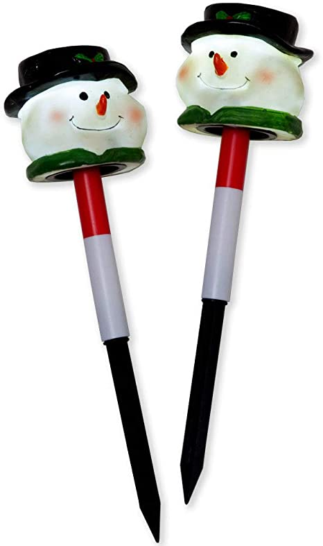 Bits And Pieces Set Of Two 2 12 Inch Tall Solar Snowman Garden Stakes Christmas Holiday Yard Light Decoration Amazon Ca Patio Lawn Garden