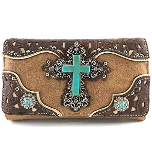 Justin West Tooled Leather Laser Cut Turquoise Rhinestone Cross Concho Studded Shoulder Tote Handbag Purse (Tan Brown Wallet)
