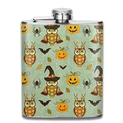 (Zeajant Stainless Steel Flask, Whiskey Flask Vodka Alcohol Flask Vintage Halloween Owl Spider Pumpkin Portable Pocket Bottle, Bag Bottle, Camping Wine Bottle, Suitable for Men and Women)