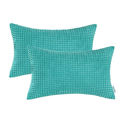 Pack of 2, CaliTime Bolster Pillow Covers Cases for Couch So