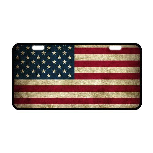 American Flag Aluminum License Plate Black And Silver Rust Proof Quality Product (Cool Front License Plate compare prices)