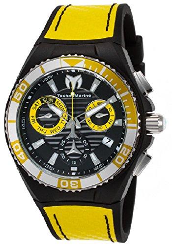 TechnoMarine Men's TechnoMarine Yellow Silicone Band Steel Case Quartz Black Dial Analog Watch