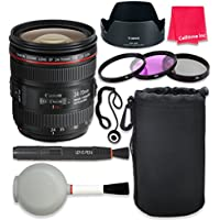 Canon EF 24–70mm f/4L IS USM Lens For Canon SL1 T6 T6s T6i 7D Mark II 80D 70D 6D 5D Mark III Mark IV 5DS 5DS R DSLR Cameras + Complete Accessory Kit - International Version (No Warranty)
