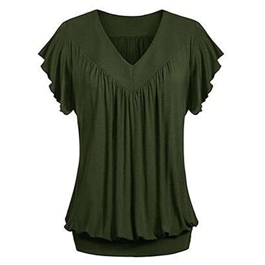 69d4a6d3025c2 Sameno Women Plus Size Loose V Neck Short Ruffle Sleeve Solid Color Top  Pleated Blouse T