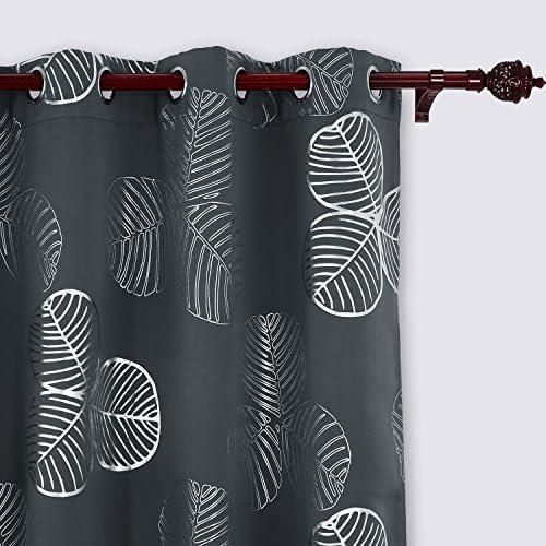 Deconovo Dark Grey Printed Blackout Curtains Room Darkening Light Blocking Panels for Bedroom, W52 x L84 inch
