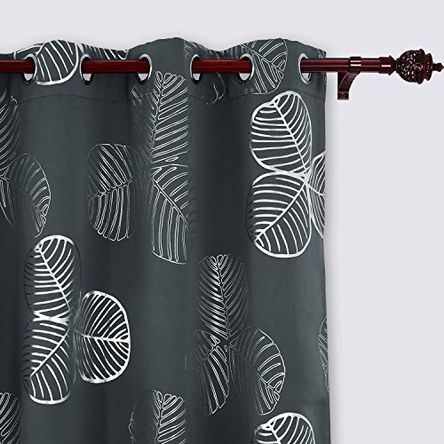 Deconovo Curtains Room Darkening Curtains for Bedroom Goat Willow Leaf Printed Blackout Curtains 52 W x 63 L 2 Panels Dark Grey