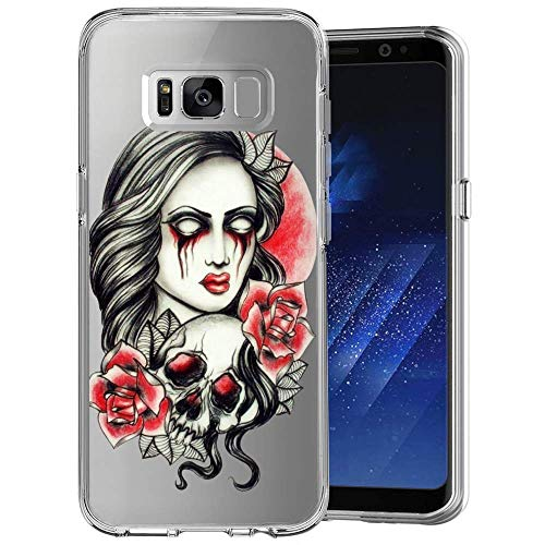 Samsung Galaxy S8 Plus Case Halloween Make up Pattern Crystal Print Soft Super Silm Clear Case Samsung Galaxy S8 Plus Scratch-Proof Protective -