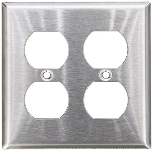 l Plate, Duplex Receptacle, 2 Gang, Stainless Steel ()