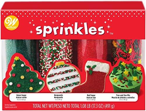 Wilton W7107654 Mega Sprinkles 4-Pack 17.3oz, Traditional Christmas ()
