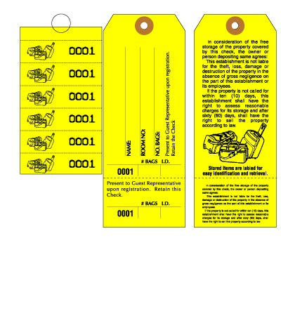 Bag Identification Tags, Manifold Construction for multiple bags. Printed in Black Ink on Yellow stock & 6 Yellow labels with matching numbers & Elastic String attached. Size: 6 1/2