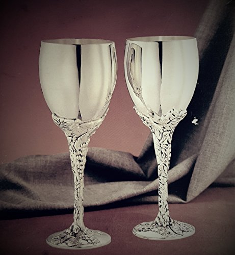 Set of 2 NEW Fine Quality Silver Plated Grape Vine Stem Wine Goblets VINTAGE (Godinger) COLLECTABLE