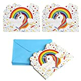 Unicorn Invitations Unicorn Birthday Invitations with Envelopes, Party Invitation Cards for Kids Birthday Baby Shower Unicorn Party Supplies, 24 Invitations + 24 Envelopes
