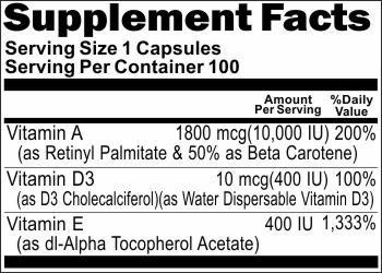 Vitamin A 10,000IU, D3 400IU & E 400IU (Emulsified Dry) 100 Capsules * Baylon Naturals Supplements ALL NATURAL!!!!!
