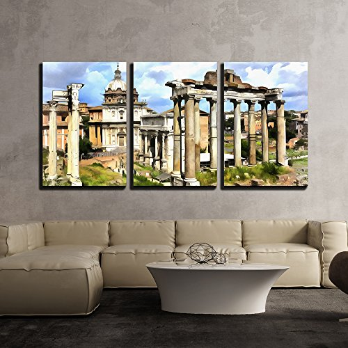 Colorful Painting of Temple of Saturn x3 Panels