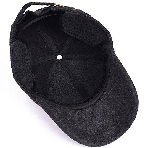 YAKER Men's Winter Warm Woolen Peaked Baseball Cap Hat Earmuffs Metal Buckle (Black) by YAKER (Image #4)