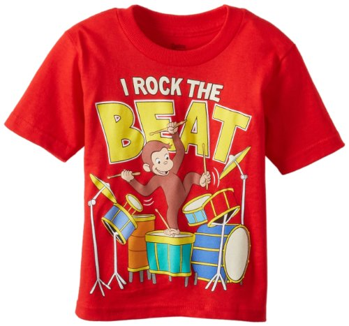 Curious George Toddler Boys' Short Sleeve T-Shirt Shirt, Red, 2T -
