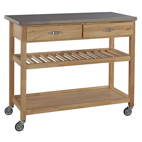 Wood Serving Cart With Stainless Steel Top 46''L x 19''D x 36''H - HUB-75394 by Miller Supply Inc