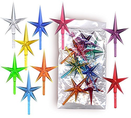 Stars plastic LARGE for the top of the ceramic Christmas tree 10 pack of colors (Tree Replacement Christmas Star Ceramic Part)