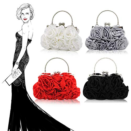 Handbag Bag Silver Women Party Shoulder Evening Clutch Bag Bridal Flower Party Bag Leisure Cross Fashion Body Rose Pattern HBSHE xFwYfSZqY