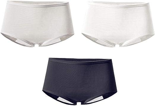 Amazon Com Pantalones Period De Cintura Alta Senora Breve Ropa Interior Para Mujeres Senoras Algodon Bragas Paquete De 3 M Clothing
