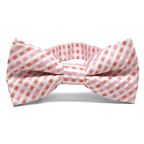 TieMart Perfect Pink George Plaid Band Collar Bow Tie