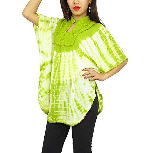Camisa sin mangas del verano de las mujeres de Boho del poncho Kurti Casual Túnica Vestido de tirantes Verde