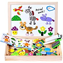 Wooden magnetic Easel, Magnetic Jigsaw Double Side Board Dry Erase Board Puzzle Games Toys for Kids Toys for Boys Girls Minto Toy (animals)