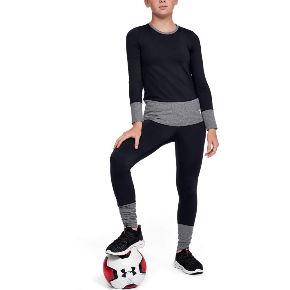 Under Armour Girls' Coldgear Legging, Black//White, Youth X-Large by Under Armour