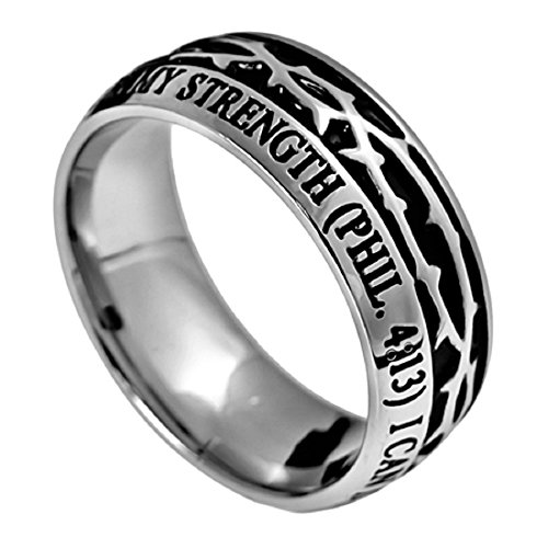 Stainless Steel Christ My Strength Crown of Thorns Ring Silver with Scripture Phil. 4:13