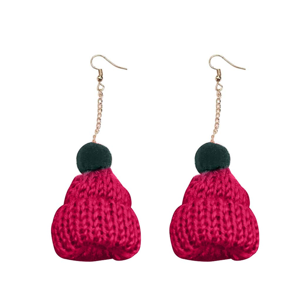 Women Christmas Knitting Hat Pompom Dangle Hook Earrings Party Jewelry Charm - Red