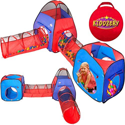 Kiddzery 4pc Kids Play tent Pop Up Ball Pit - 2 Tents + 2 Crawl Tunnels - Children Tent for Boys & Girls, Kids Toddlers & Baby, Large Playhouse For Indoor & Outdoor With Carrying Case, Great Gift Idea by kiddzery