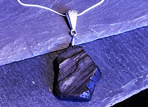 Necklace - On Solid Silver Chain. Pretty And Rare (Whitby Jet Necklaces)