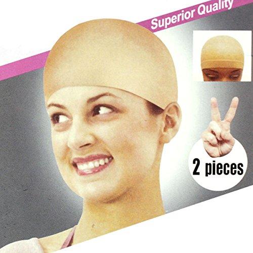 Hohaski 2pcs Unisex Nylon Thin Stretchable Bald Wig Hair Cap Stocking Liner Snood Mesh Stretch Nude Beige